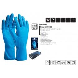 Rękawice nitrylowe wielorazowe grube, długie NITRAX GRIP BLUE, pakowane w blistrach po 3 pary (cena za 3 pary)